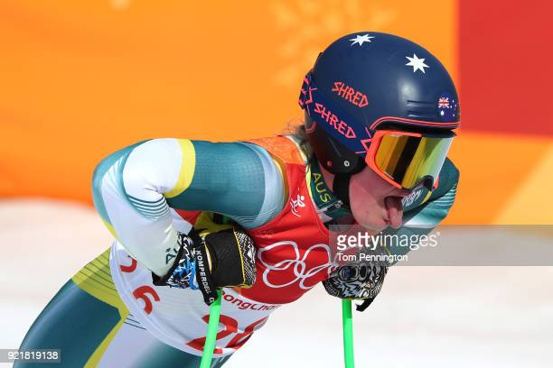 Greta Small of Australia reacts at the finish during the Ladies' Downhill on day 12 of the PyeongChang 2018 Winter Olympic Games at Jeongseon Alpine...