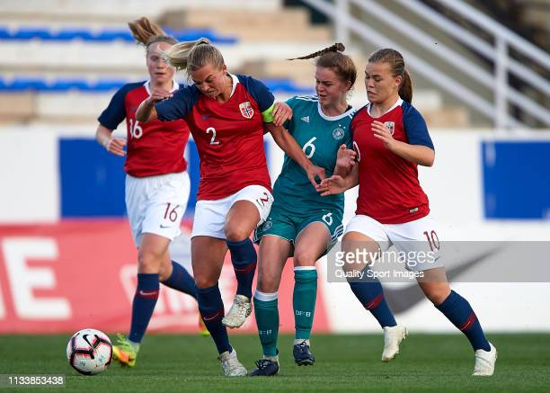 Greta Stegemann of Germany competes for the ball with Malin Skulstad Sunde and Olaug Tvedten of Norway during the 14 Nations Tournament match between...