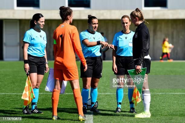 Greta Stegemann of Germany with Elvira Askarzade of Azerbaijan during the UEFA Women's U19 European Championship Qualifier match between Germany and...