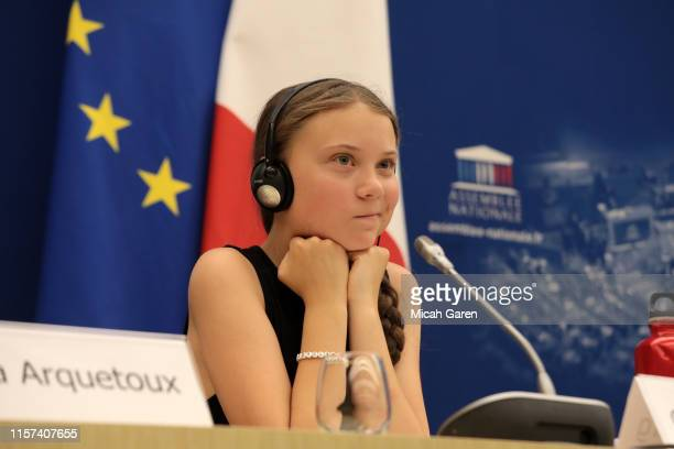 Greta Thunberg addresses the National Assembly In Paris on July 23 2019 in Paris France Ms Thunberg is a Swedish activist who started protesting...