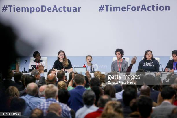 Greta Thunberg and Luisa Neubauer participates in a press conference with other young climate activists during the Climate Summit COP25 in Ifemaon...