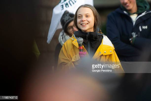 Greta Thunberg attends Fridays For Future Strike on December 13 2019 in Turin Italy
