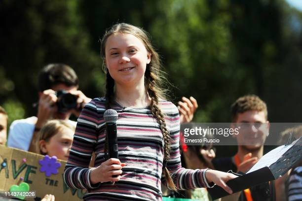 Greta Thunberg attends the 'Fridays For Future' rally with Greta Thunberg asking for measures and concrete action to combat climate change at Piazza...