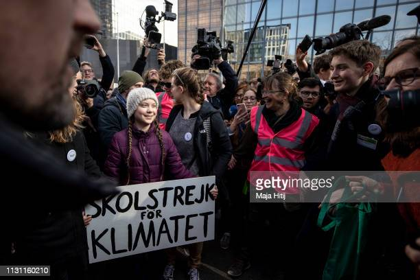 Greta Thunberg climate activist attends 7th Brussels youth climate march on February 21 2019 in Brussels Belgium