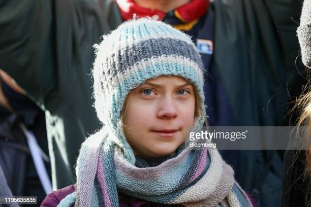 Greta Thunberg climate activist attends a demonstration on the closing day of the World Economic Forum in Davos Switzerland on Friday Jan 24 2020...