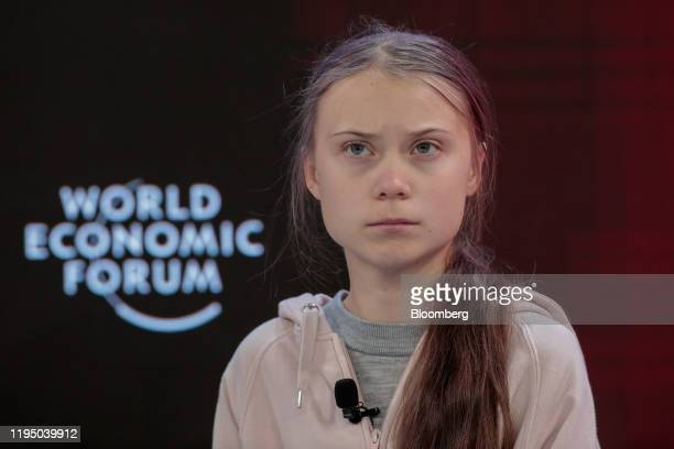 Greta Thunberg climate activist pauses during a panel session on the opening day of the World Economic Forum in Davos Switzerland on Tuesday Jan 21...