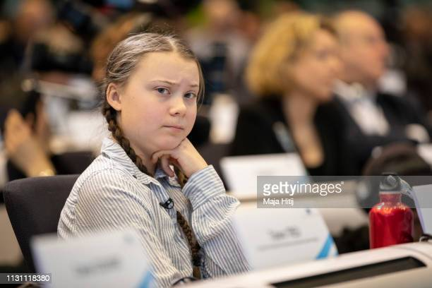 Greta Thunberg climate activist sits at Civil Society for eEUnaissance event on February 21 2019 in Brussels Belgium