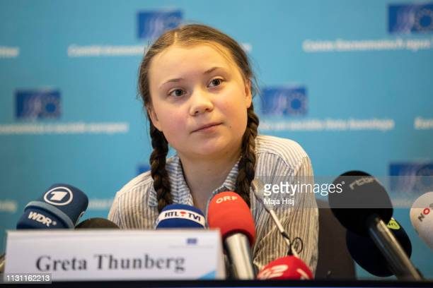 Greta Thunberg climate activist speaks at a press conference at Civil Society for eEUnaissance event on February 21 2019 in Brussels Belgium
