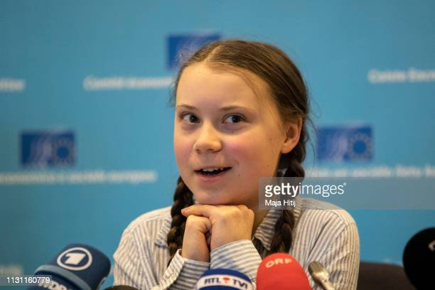 Greta Thunberg, climate activist speaks at Civil Society for eEUnaissance event on February 21, 2019 in Brussels, Belgium.