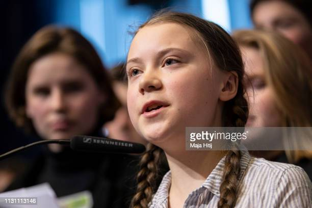 Greta Thunberg climate activist speaks at Civil Society for eEUnaissance event with Belgian youth climate activist on February 21 2019 in Brussels...