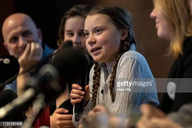 Greta Thunberg climate activist speaks during a press conference organized by Belgian Youth for Climate with other activists from Europe on February...
