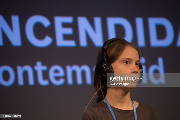 Greta Thunberg listens to questions from journalists during a press conference. Press conference of the Swedish activist of Fridays for Future,...