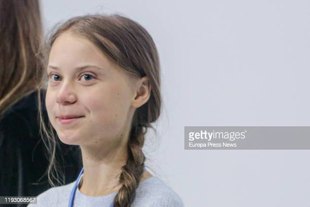 Greta Thunberg participates in a press conference with other young climate activists during the Climate Summit COP25 in Ifema on December 09 2019 in...