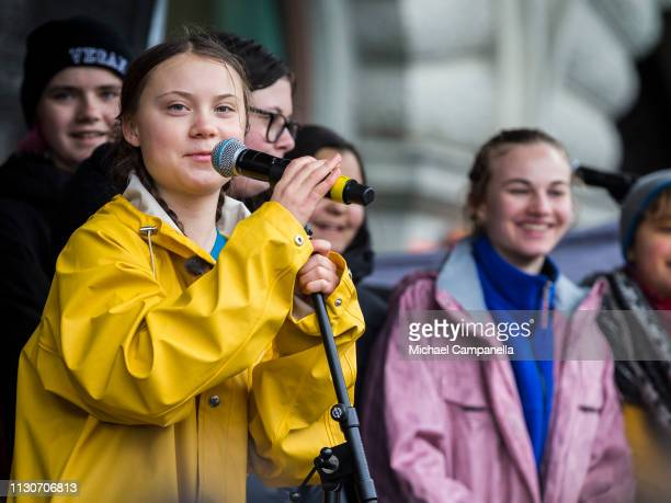 Greta Thunberg participates in a strike outside of the Swedish parliament house Riksdagen in order to raise awareness for global climate change on...