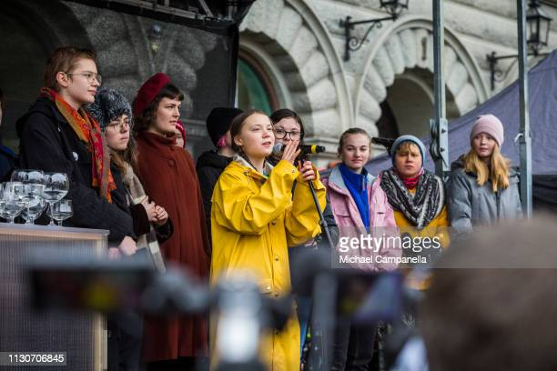 Greta Thunberg participates in a strike outside of the Swedish parliament house, Riksdagen, in order to raise awareness for global climate change on...