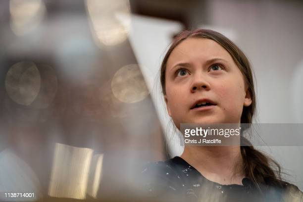 Greta Thunberg speaks at an event with other climate activists on April 22, 2019 in London, England. Greta Thunberg sparked the global student...