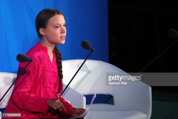 Greta Thunberg speaks at the United Nations where world leaders are holding a summit on climate change on September 23, 2019 in New York City. While...