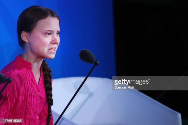 Greta Thunberg speaks at the United Nations where world leaders are holding a summit on climate change on September 23 2019 in New York City While...