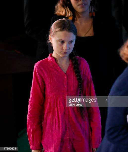 Greta Thunberg speaks at the United Nations where world leaders are holding a summit on climate change on September 23 2019 in New York City