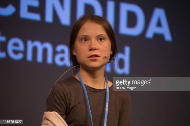 Greta Thunberg speaks during a press conference. Press conference of the Swedish activist of Fridays for Future, climate change, Greta Thunberg after...