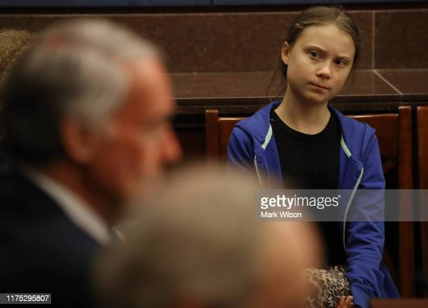 Greta Thunberg, the 16-year-old climate change activist from Sweden, attends a Senate Climate Change Task Force meeting on Capitol Hill, on September...