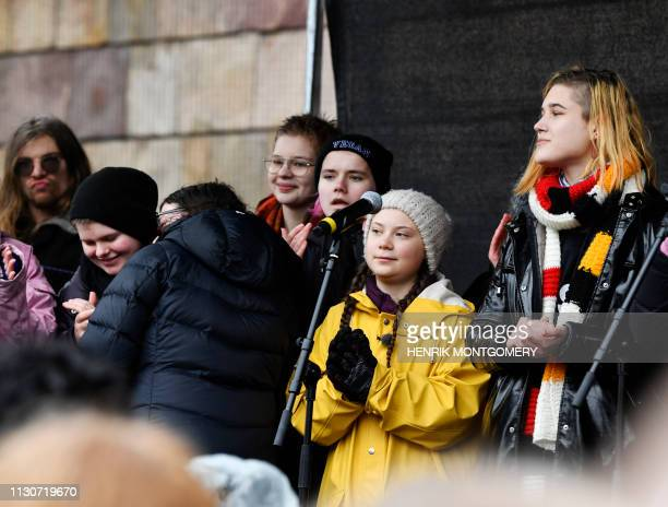 """Greta Thunberg, the 16-year-old Swedish climate activist speaks during the """"Global Strike For Future"""" demonstration on a global day of student..."""