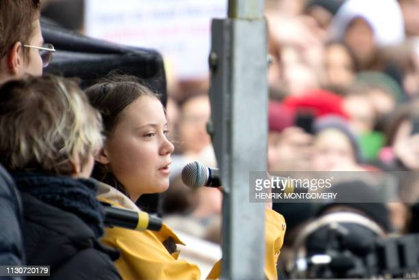 Greta Thunberg the 16yearold Swedish climate activist speaks during the Global Strike For Future demonstration on a global day of student protests...
