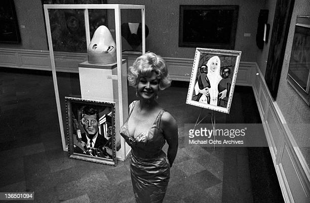 Greta Thyssen Miss Denmark 1951 standing in an art gallery circa 1965
