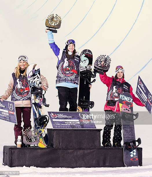 Gretchen Bleiler Kelly Clark and Queralt Castellet celebrate on the podium after the women's halfpipe finals during the World Snowboarding...