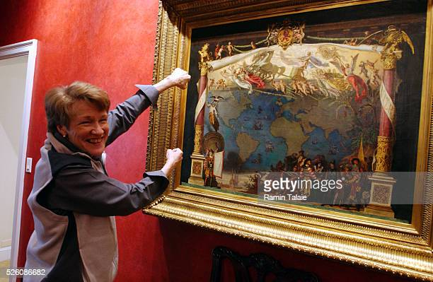 Gretchen Bolton the wife of John R Bolton the United States Ambassador to the United Nations shows a map of the world painted by Emanuel Gottlieb...