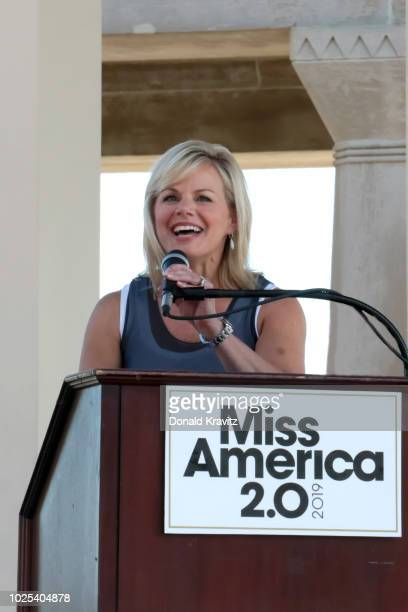 Gretchen Carlson Chairwoman of the Miss America Organization addresses the crowd at Kennedy Plaza on August 30 2018 in Atlantic City New Jersey