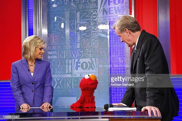 Gretchen Carlson Elmo and Steve Doocy visit 'FOX Friends' at the FOX Studios on November 18 2010 in New York City