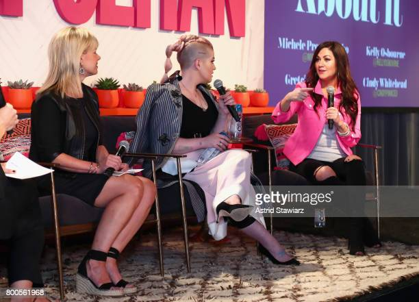 Gretchen Carlson Kelly Osbourne and Cindy Whitehead speak on stage during the Cosmopolitan Let's Talk About It Event on June 24 2017 in New York City