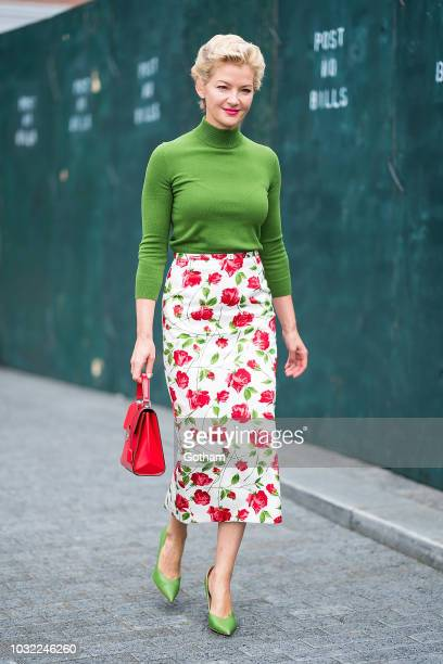 Gretchen Mol attends the Michael Kors fashion show during New York Fashion Week The Shows at Pier 17 in the South Street Seaport on September 12 2018...