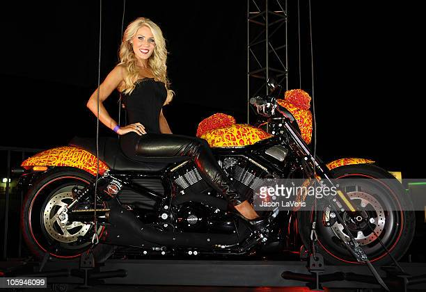 Gretchen Rossi attends Harley Davidson's unveiling of the Cosmic Harley at Bartels Harley Davidson on October 21 2010 in Marina del Rey California