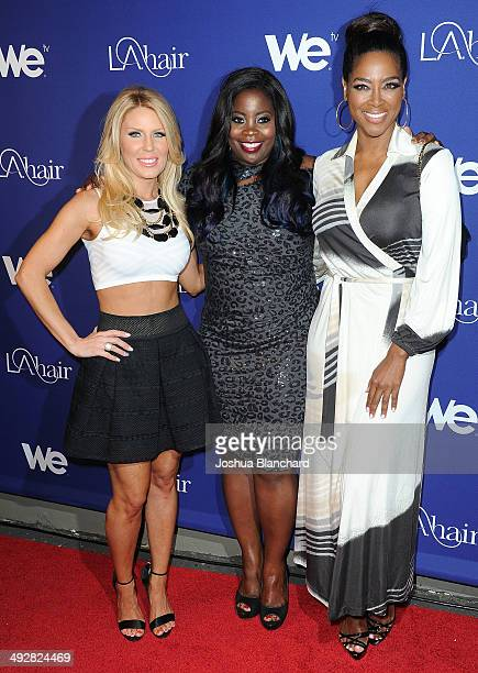 Gretchen Rossi Kim Kimble and Kenya Moore arrive at WE tv's LA Hair Season 3 Premiere Event at Kimble Hair Studio and Extension Bar on May 21 2014 in...