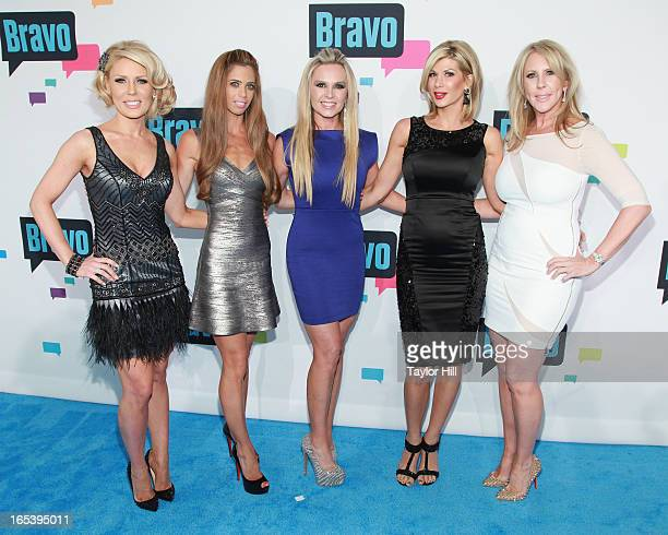 Gretchen Rossi Lydia McLaughlin Tamra Barney Alexis Bellino and Vicki Gunvalson of The Real Housewives of Orange County attend the 2013 Bravo Upfront...
