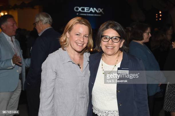 Gretchen Wagner and Jackie Elias attend the Launch Of OceanX a bold new initiative for ocean exploration at the American Museum of Natural History on...