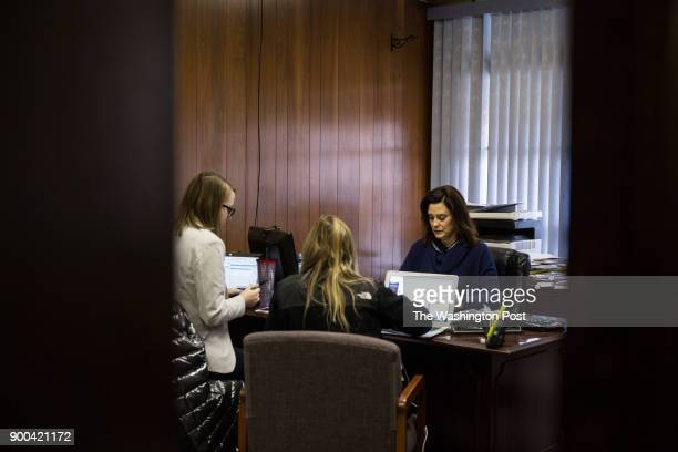 Gretchen Whitmer and her team begin call time at their location in Detroit Michigan located off W McNichols Rd on December 19 2017