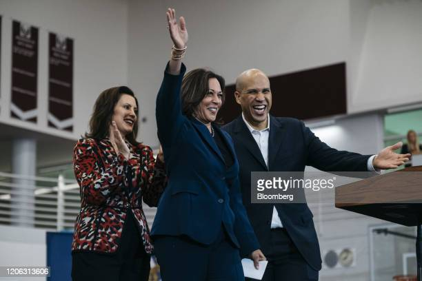 Gretchen Whitmer governor of Michigan left Senator Kamala Harris a Democrat from California center and Senator Cory Booker a Democrat from New Jersey...
