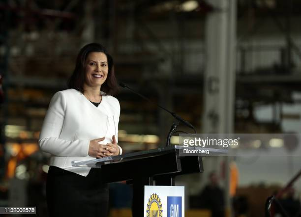 Gretchen Whitmer governor of Michigan smiles during an event at the General Motors Co Orion Assembly plant in Orion Township Michigan US on Friday...