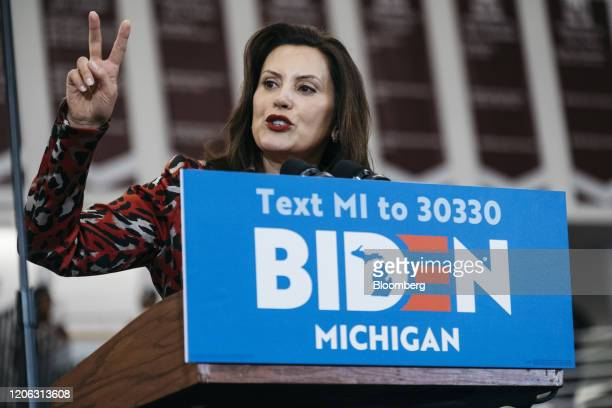Gretchen Whitmer governor of Michigan speaks during a campaign event with former Vice President Joe Biden 2020 Democratic presidential candidate not...