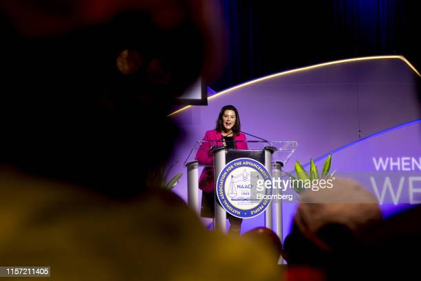 Gretchen Whitmer governor of Michigan speaks during the 110th NAACP Annual Convention in Detroit Michigan US on Monday July 22 2019 Democrats are...