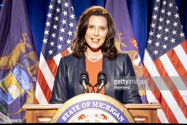 Gretchen Whitmer, governor of Michigan, speaks during the virtual Democratic National Convention seen on a laptop computer in Tiskilwa, Illinois,...