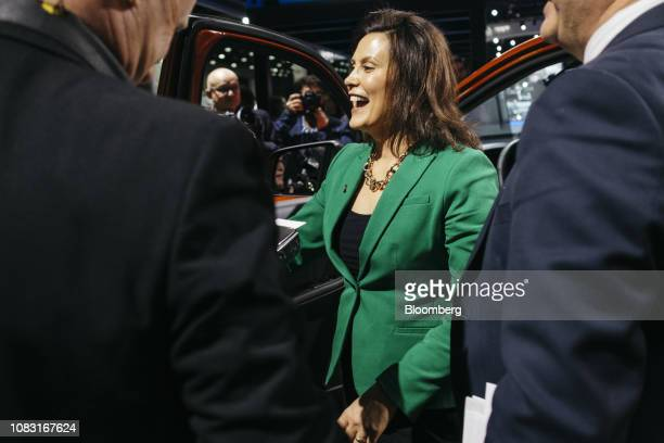 Gretchen Whitmer governor of Michigan speaks to members of the media during the 2019 North American International Auto Show in Detroit Michigan US on...