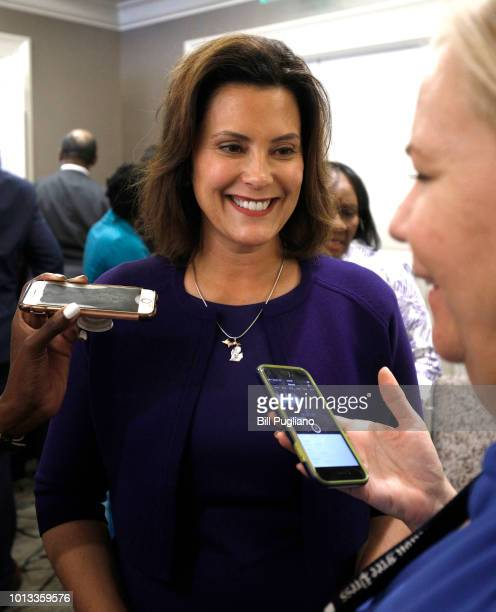 Gretchen Whitmer Michigan Democratic gubernatorial nominee speaks with a reporter after a Democrat Unity Rally at the Westin Book Cadillac Hotel...