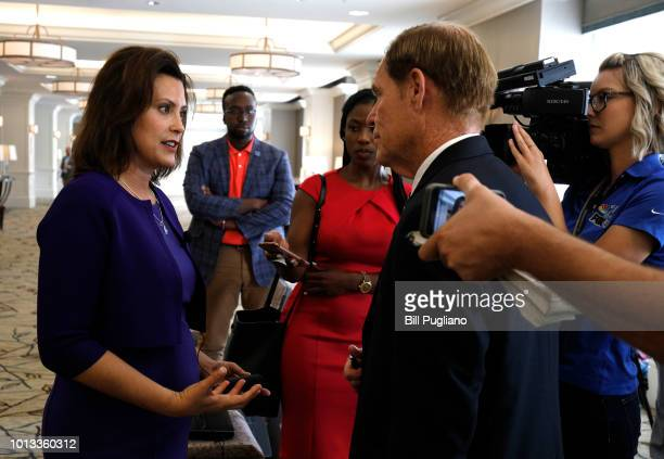 Gretchen Whitmer Michigan Democratic gubernatorial nominee speaks with reporters after a Democrat Unity Rally at the Westin Book Cadillac Hotel...