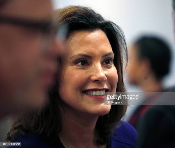 Gretchen Whitmer Michigan Democratic gubernatorial nominee speaks with people after a Democrat Unity Rally at the Westin Book Cadillac Hotel August 8...