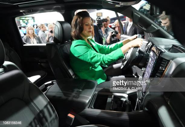 Gretchen Whitmer newley elected governor of Michigan tours the show during day two of the 2019 The North American International Auto Show January 15...