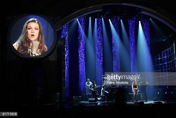 Gretchen Wilson performs on stage at the 38th Annual CMA Awards at the Grand Ole Opry House November 9 2004 in Nashville Tennessee